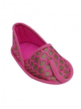 Fuschia Love Brocade Booties For Baby Girls