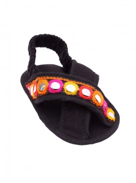 Style Me Pretty Black Crib Sandals For Baby Girls
