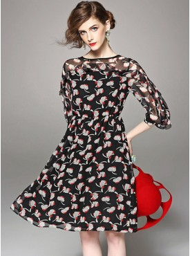 Fashion Wholesale Round Neck Flowers Chiffon Dress