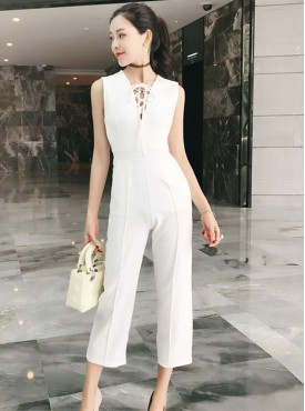Europe Fashion Tying V-neck High Waist Tank Jumpsuits