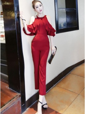 Elegant Fashion Shoulder Flouncing Long Jumpsuits