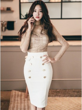 Korea Sexy Blouse with Double-breasted Skinny Skirt