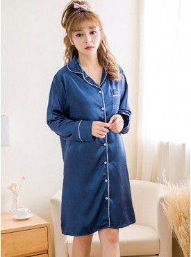 Wholesale Fashion down Collar Pajamas Silk Dress