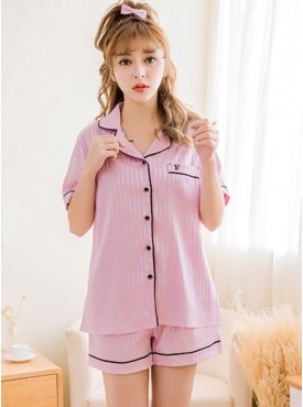 Summer Fashion Stripes Silk Pajama Leisure Suits