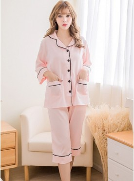 Quality Fashion down Silk Casual Pajamas Suits
