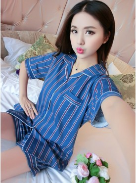 Wholesale Turn-down Collar Stripes Pajama Suits