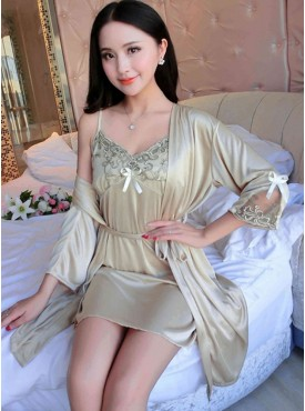 Charming Lady Flowers Embroidery Pajama Dress Set