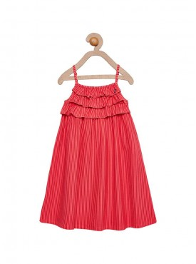 Girls Red Color Regular Top