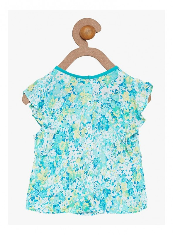 Girls Turquoise Color Regular Top