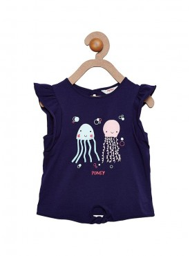 Girls Navy Color Regular Top