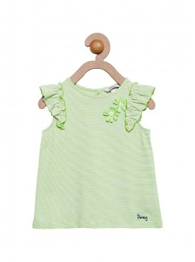 Girls Green Color Regular Top