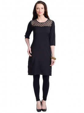 Today Fashion Solid Black Laced Kurtis