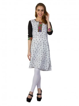 Today Fashion White Printed Kurtis