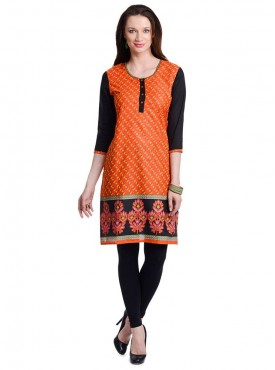 Today Fashion Orange Cotton Kurtis