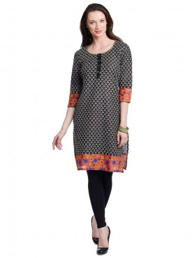 Today Fashion Black Printed Cotton Kurtis
