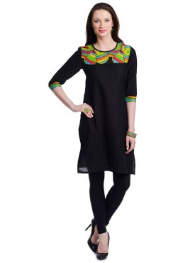 Today Fashion Stylish Black Cotton Kurtis