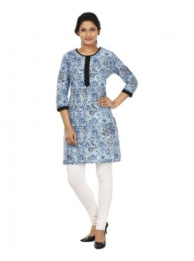 Today Fashion Blue Printed Cotton Kurtis