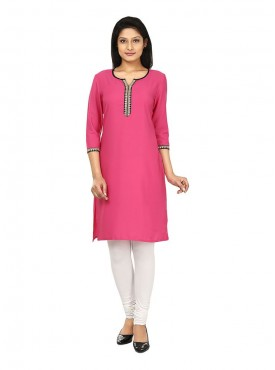 Today Fashion Solid Pink Kurtis