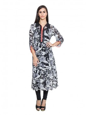 Today Fashion White  Black Printed Kurta