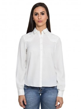Today Fashion White Embroidered Shirt