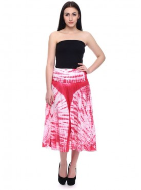Today Fashion Red Cotton A-Line Skirt