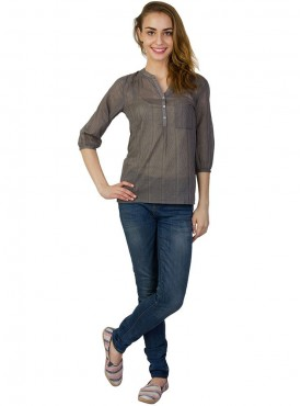 Today Fashion Grey Cotton Tops