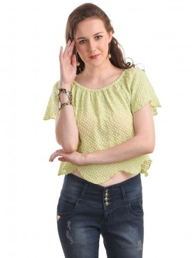 Today Fashion Green Solid Crop Top