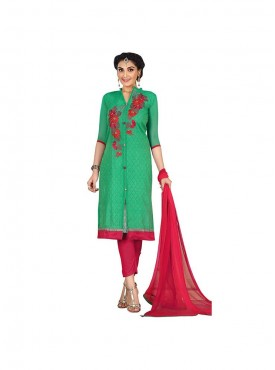 Aasvaa Appealing Embroidered Women  Girl Chanderi Salwar Suit