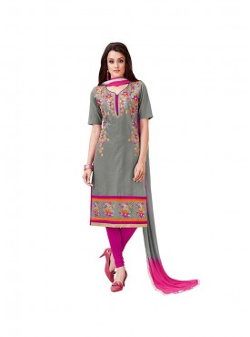 Aasvaa Mind Blowing Embroidered Women  Girl Cambric Cotton Dress