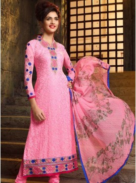 Shelina Red Color Embroidery Salwar Kameez