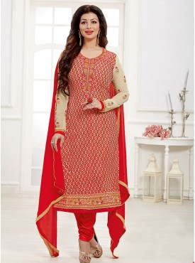 Shelina Red Color Embroidered Salwar Kameez