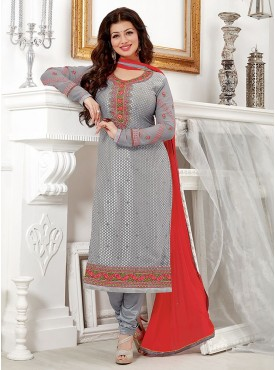 Shelina Grey Color Embroidered Salwar Kameez