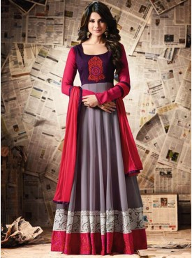 Shelina Greay Color Heavy Cotton Work ,Resham Work Suit