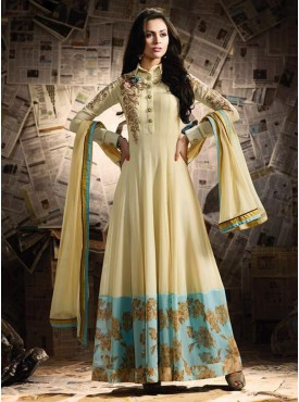 Shelina Cream Color Heavy Resham Work,Zari Work, Diamond Work Suit