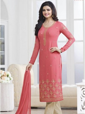 Shelina Pink Color decorative embroidered motifs Suit
