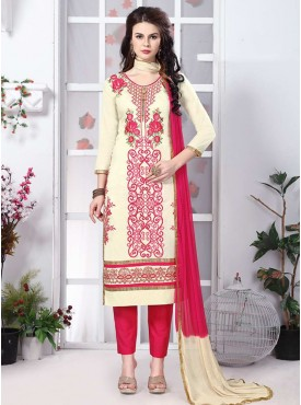 Shelina Cream Color Embroidery Suit