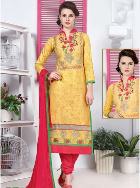 Shelina Yellow Color Embroidery Suit