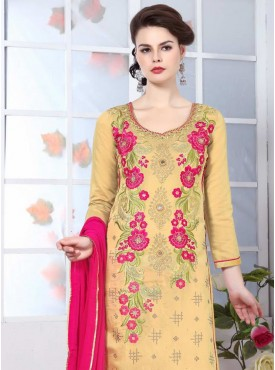 Shelina Light Yellow Color Embroidery Suit