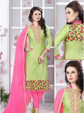 Shelina Green Color Embroidery Suit