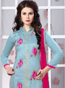 Shelina Still Blue Color Embroidery Suit