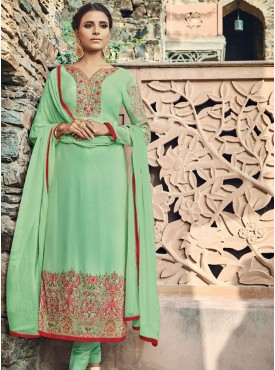 Shelina Light Green Color Embroidery With Stone Work Suit
