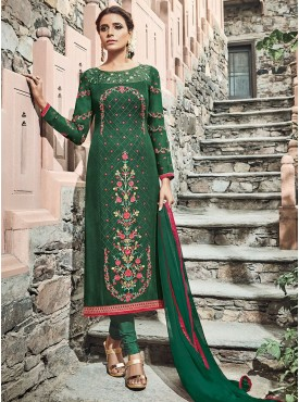 Shelina Bottol Green Color Embroidery With Stone Work Suit