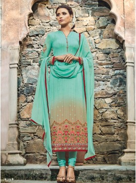Shelina Sky Blue Color Embroidery With Stone Work Suit