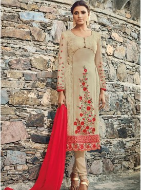 Shelina Cream Color Embroidery With Stone Work Suit
