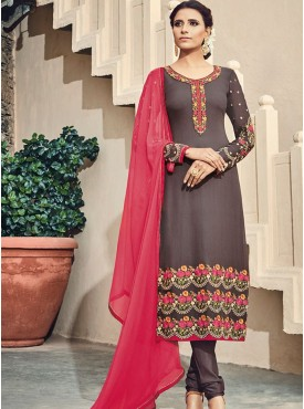 Shelina Brown Color Embroidery With Stone Work Suit