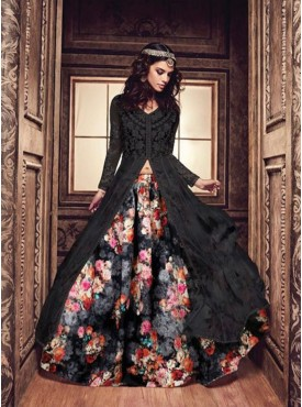 Shelina black Color Embroidery suit