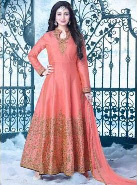 Shelina pink Color zari work suit