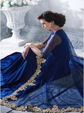 Shelina navy blue Color zari embroidery suit