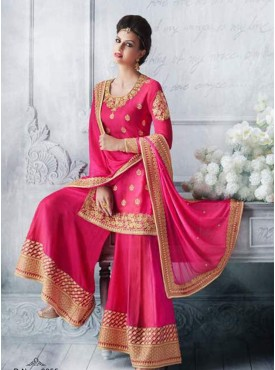 Shelina bright pink Color zari embroidery suit