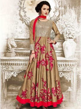 Shelina brown Color embroidery suit